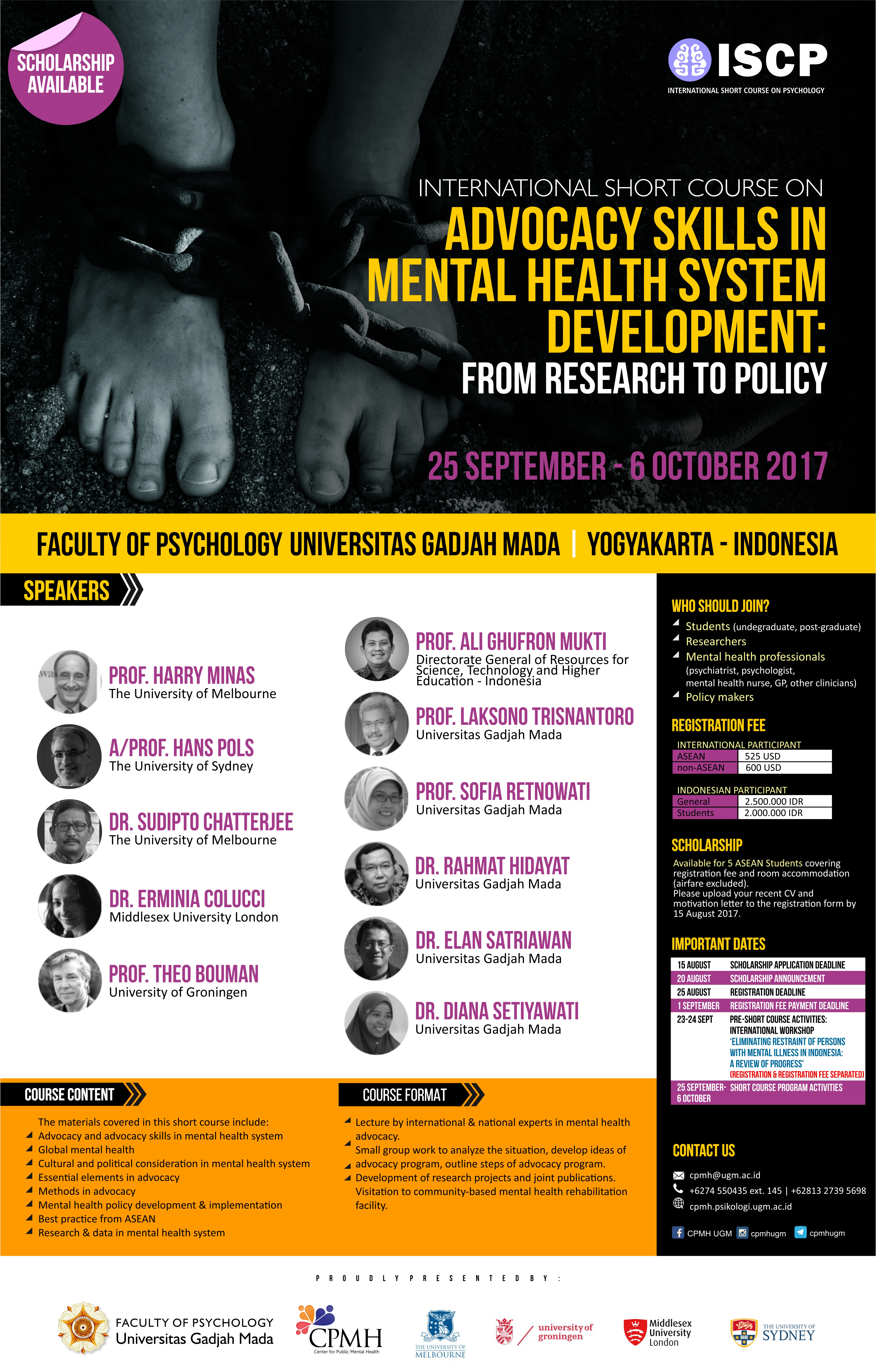 International Short Course on  Advocacy Skills in Mental Health System Development: from Research to Policy